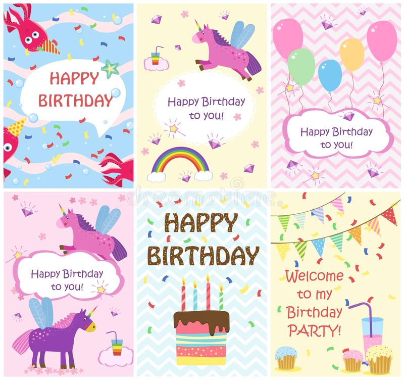 Modelli delle cartoline d'auguri di buon compleanno ed inviti del partito, insieme delle cartoline royalty illustrazione gratis