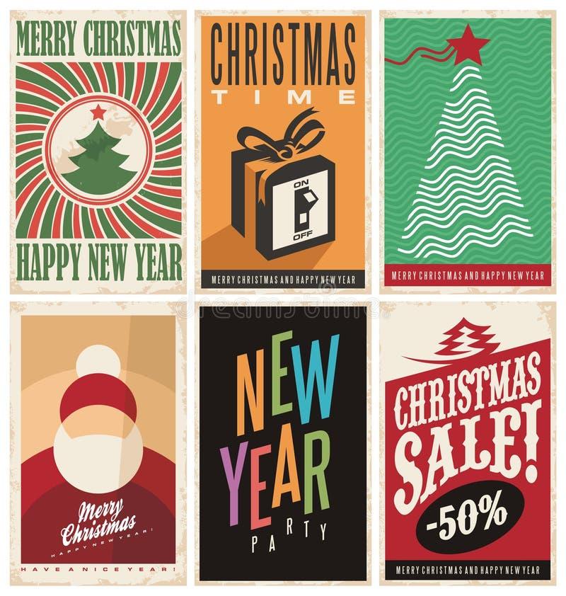 Modelli delle cartoline di Natale su vecchia struttura di carta illustrazione di stock
