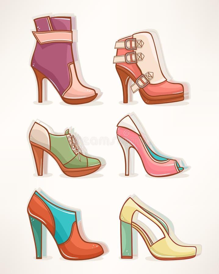 Modelli delle scarpe delle donne illustrazione vettoriale