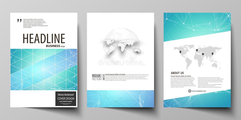 Modelli di affari per l'opuscolo, rivista, aletta di filatoio, libretto, rapporto Riguardi il modello di progettazione, disposizi illustrazione di stock