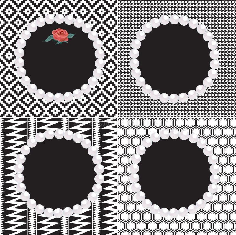 4 modelli di bianco del nero delle strutture della perla royalty illustrazione gratis