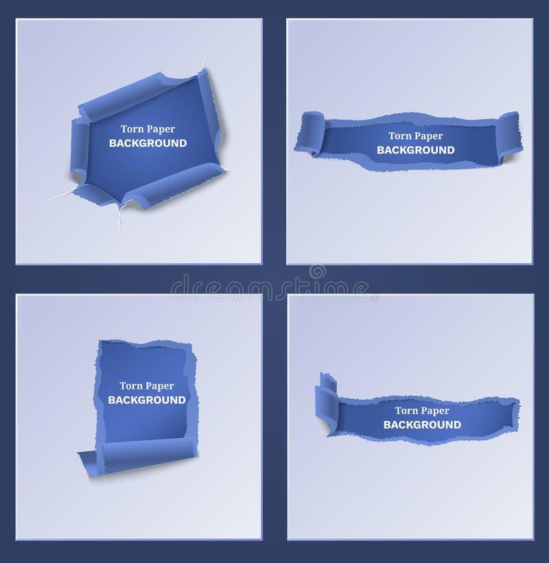Modelli di carta lacerati e strappati blu illustrazione vettoriale