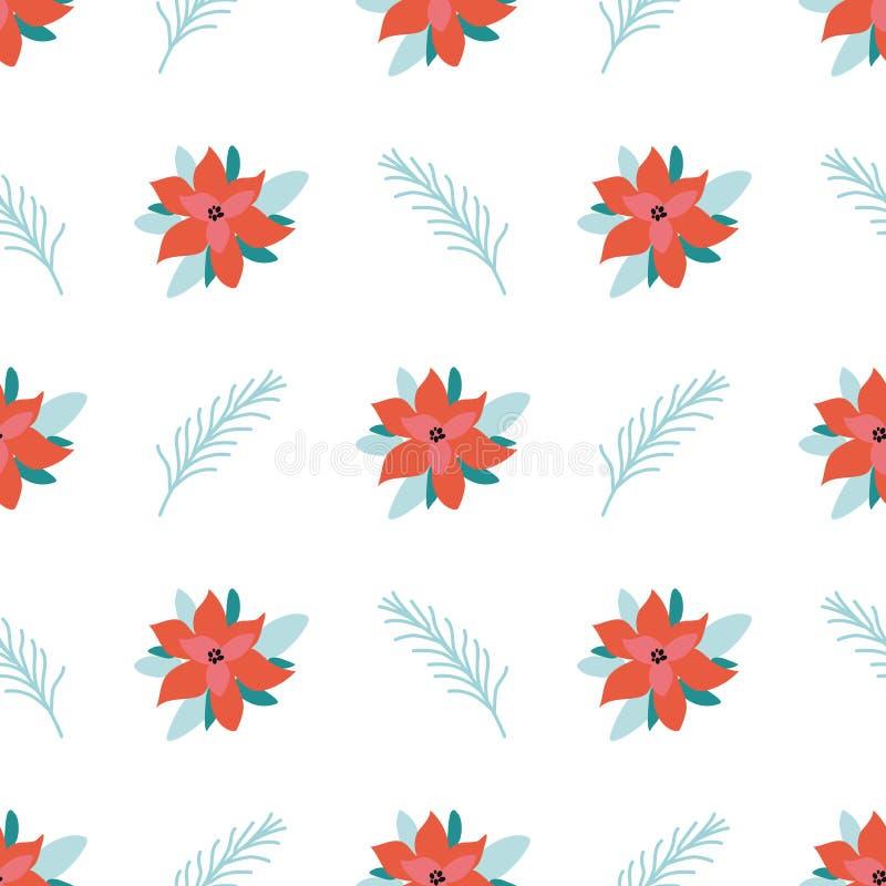 Modelli di fiore di Natale sfondo perfetto con poinsettia Modello struttura di struttura di un nuovo anno semplice Vector illustrazione vettoriale