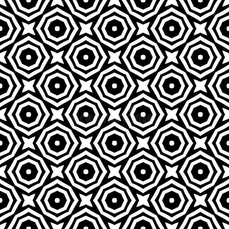Modelli di fiori astratti senza cuciture Fondo in bianco e nero di vettore Ornamento geometrico illustrazione di stock