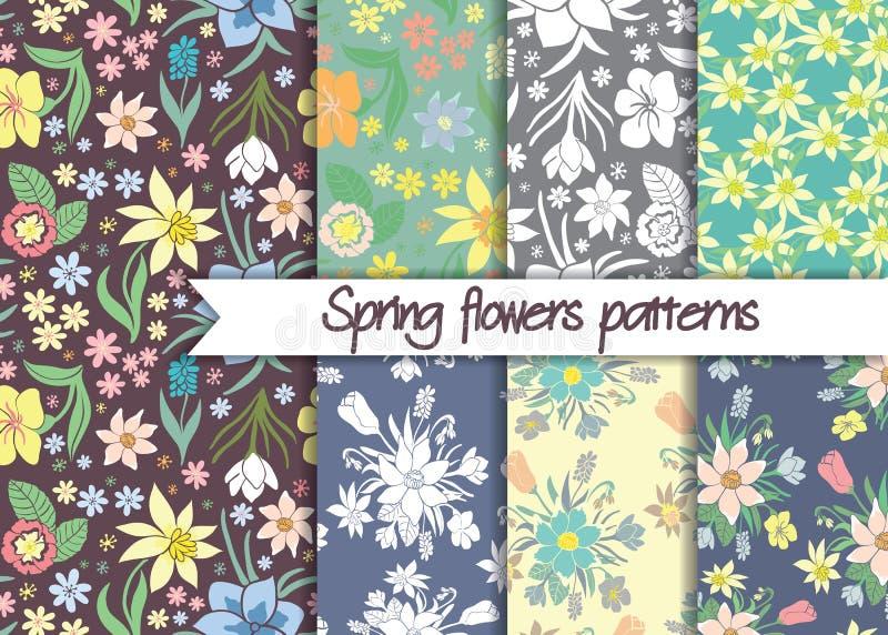 Modelli di fiori della primavera Insieme dei modelli senza cuciture di vettore royalty illustrazione gratis