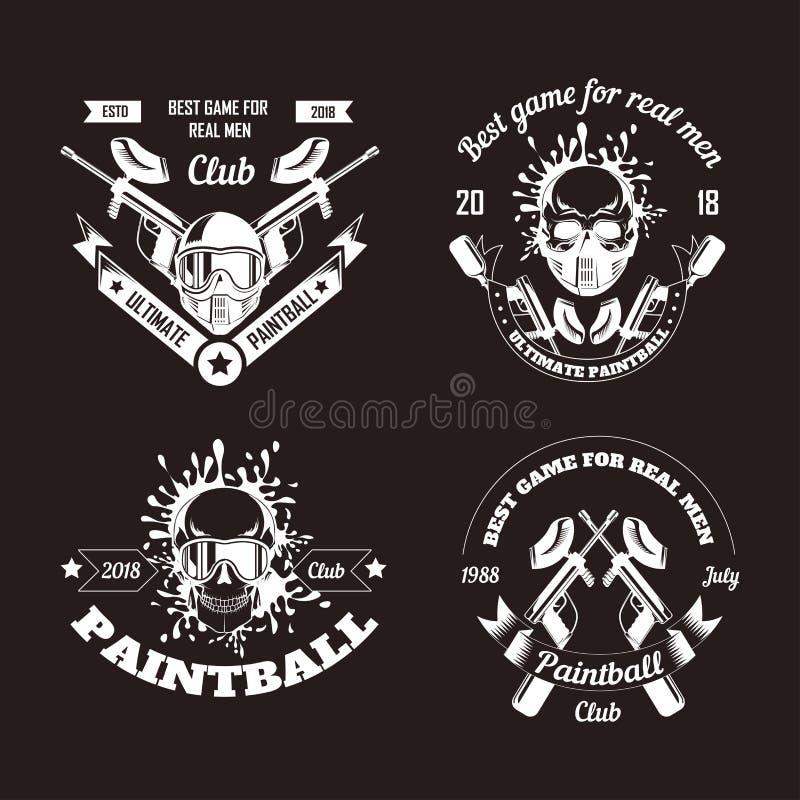 Modelli di logo del club di sport del gioco di paintball dell'obiettivo della fucilazione del gamer o della pistola della palla d illustrazione di stock