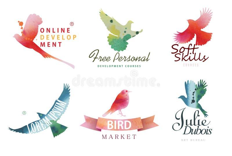Modelli di logo dell'acquerello Siluette variopinte degli uccelli nella tecnica dell'acquerello illustrazione vettoriale