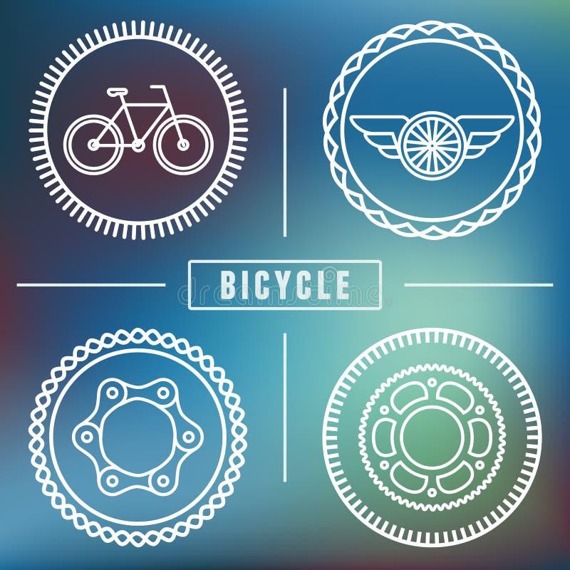 Modelli di logo della bicicletta dei pantaloni a vita bassa di vettore illustrazione di stock