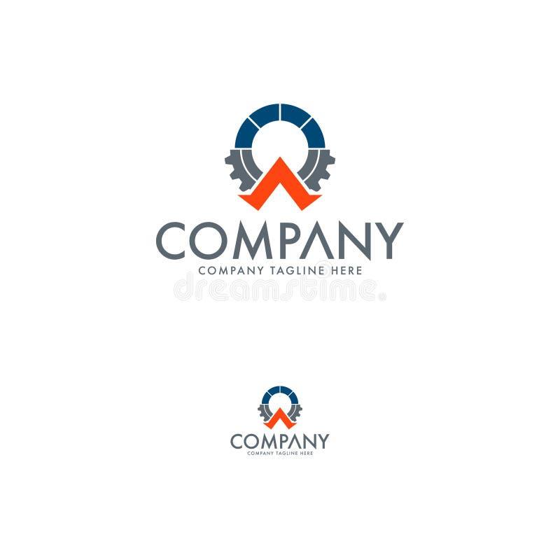 Modelli di logo della lettera A, dell'ingranaggio e del globo royalty illustrazione gratis