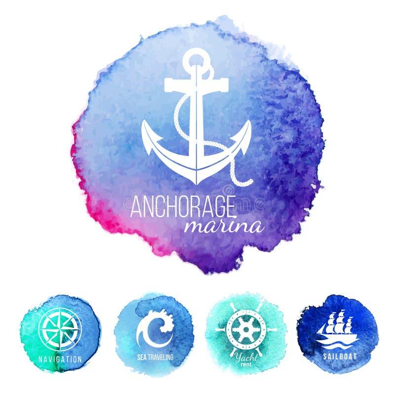 Modelli di logo di tema del mare royalty illustrazione gratis