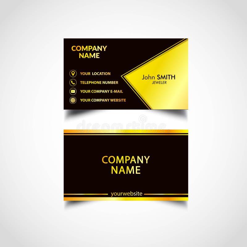 Modelli di lusso dorati del biglietto da visita, vettore, illustrazione immagine stock libera da diritti