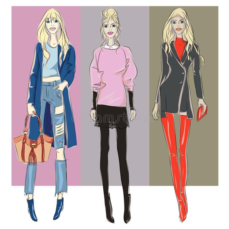 Modelli di moda nell'inverno di caduta di stile di schizzo illustrazione di stock