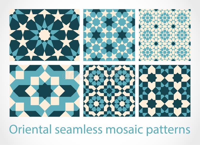 Modelli di mosaico senza cuciture orientali illustrazione vettoriale