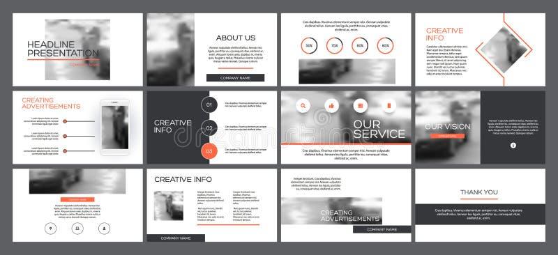 Modelli di presentazione di affari dagli elementi infographic illustrazione vettoriale