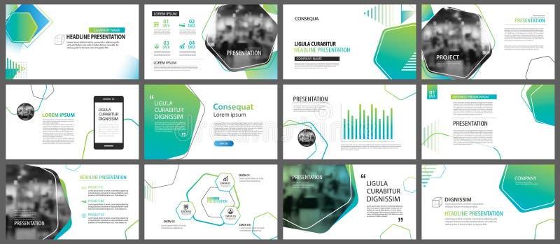Modelli di presentazione di scorrevole e sedere geometrici verdi di infographics illustrazione di stock