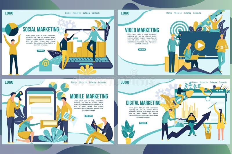 Modelli di progettazione della pagina Web per i media sociali che commercializzano concetto La gente crea per promuovere i prodot royalty illustrazione gratis