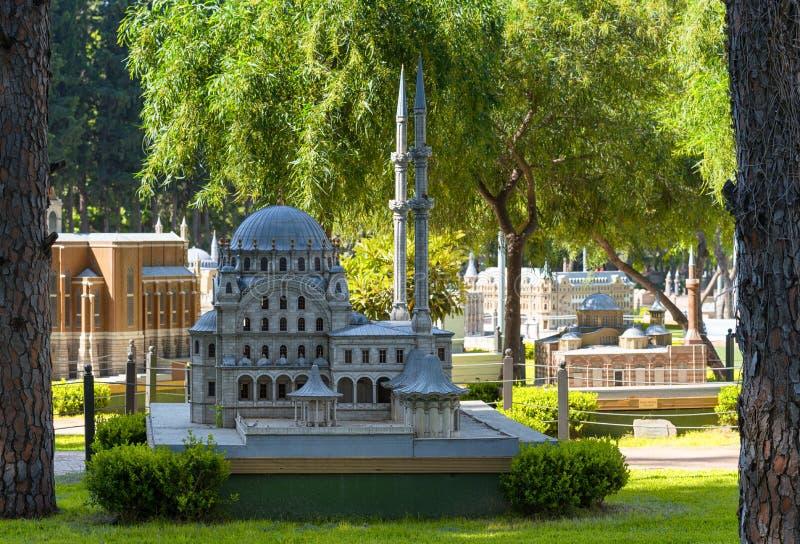 Modelli di scala al parco della cultura di Miniturkey a Adalia, Turchia fotografia stock