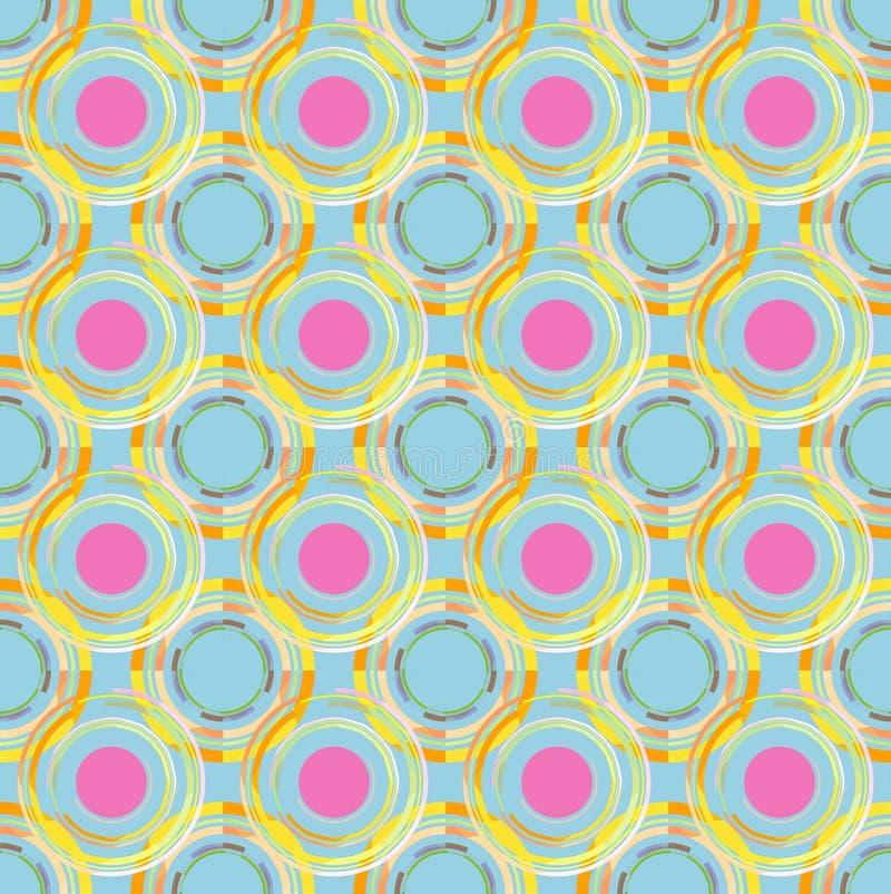 modelli di tema del cerchio e fondo del cielo blu illustrazione di stock