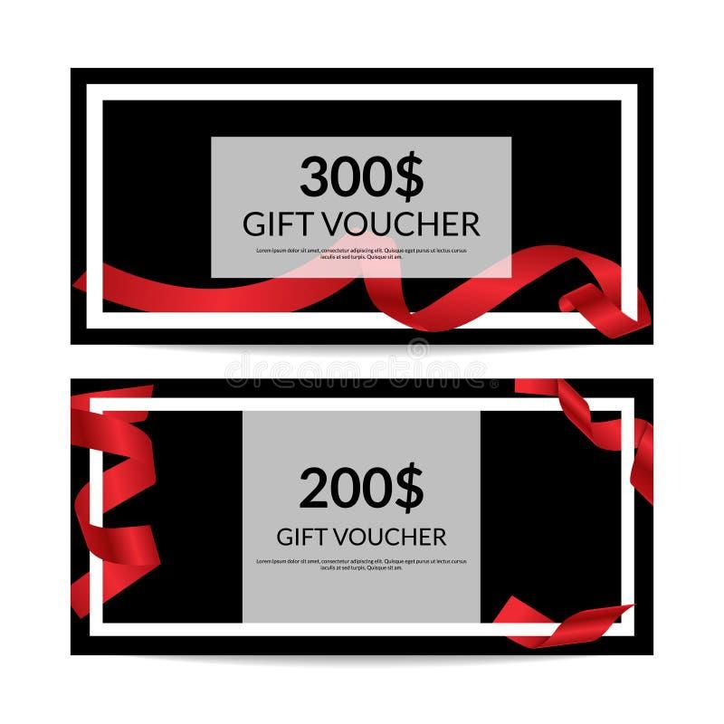 Modelli di vettore del buono di regalo con il nastro rosso illustrazione vettoriale