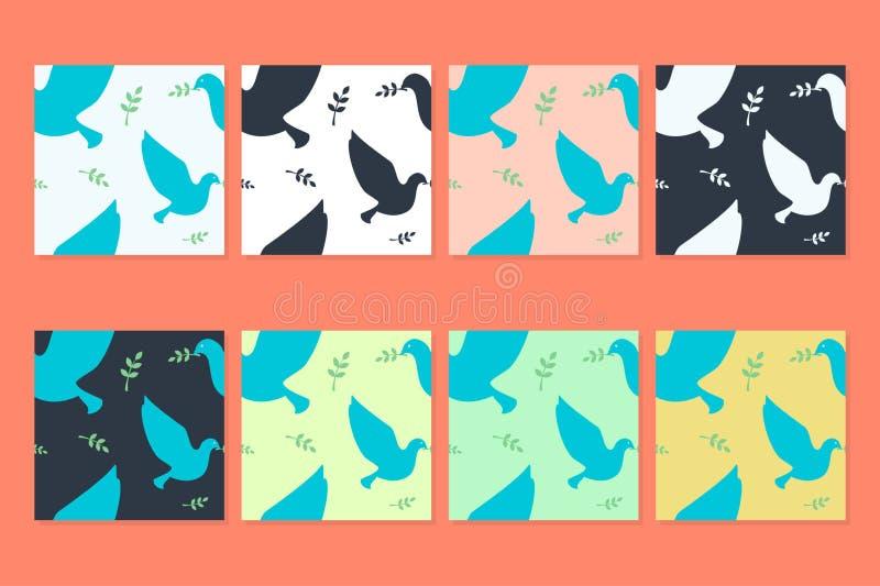 Modelli di vettore della colomba e di Olive Branch fotografia stock libera da diritti