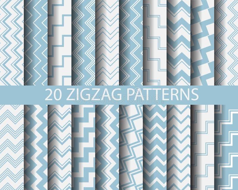 20 modelli di zigzag blu illustrazione di stock
