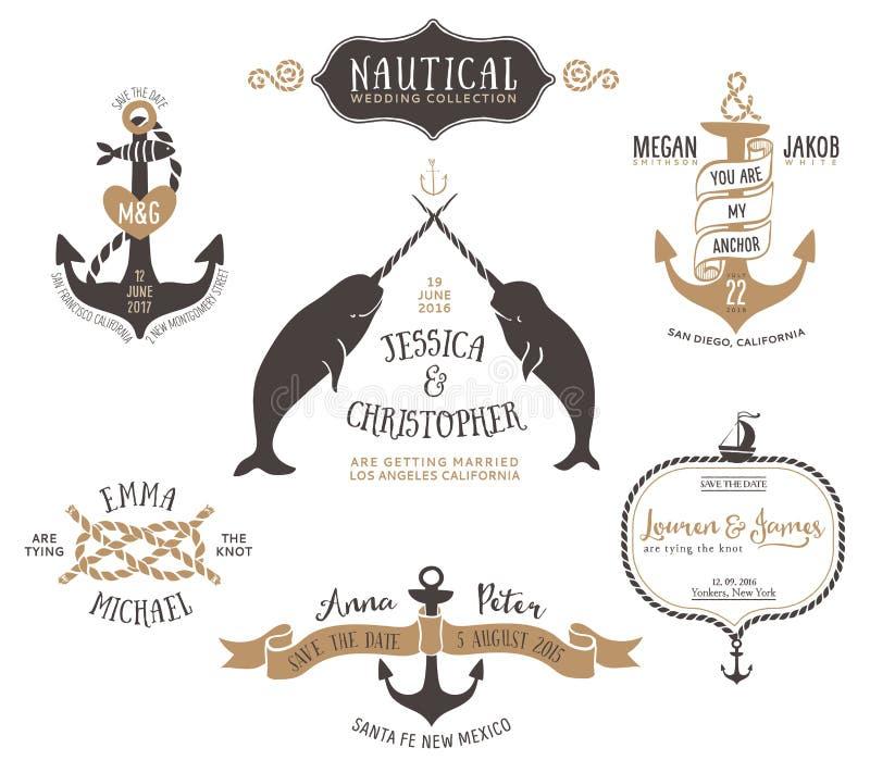 Modelli disegnati a mano di logo dell'invito di nozze nello stile nautico royalty illustrazione gratis