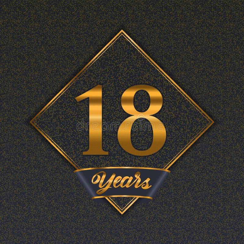 Modelli dorati di numero 18 illustrazione vettoriale