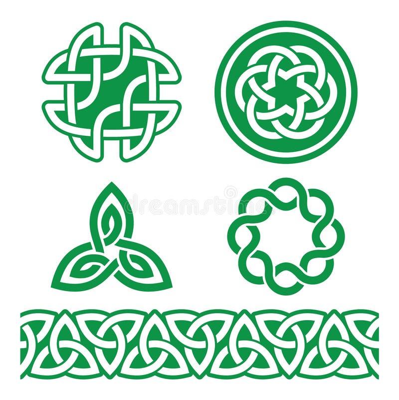 Modelli e nodi verdi irlandesi celtici - vettore, il giorno di St Patrick illustrazione vettoriale