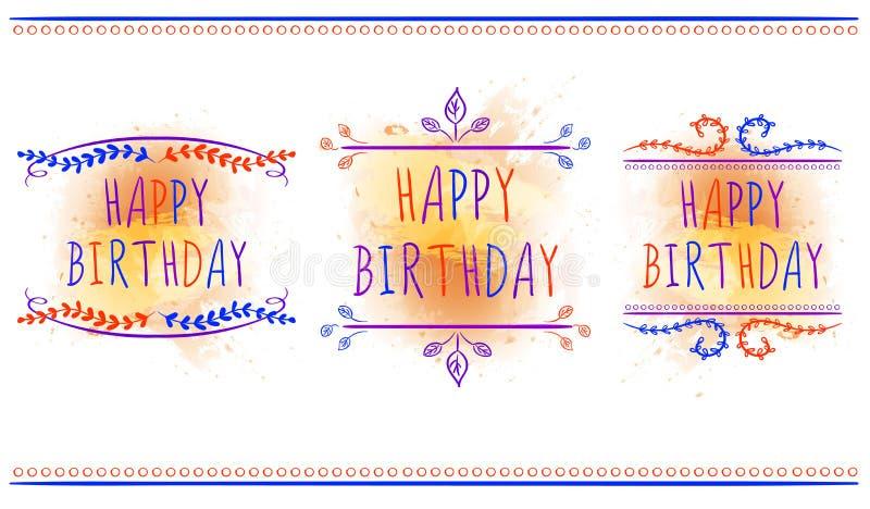 Modelli felici del biglietto di auguri per il compleanno Lettere disegnate a mano ed ornamenti d'annata Vector i contrassegni Spr illustrazione vettoriale