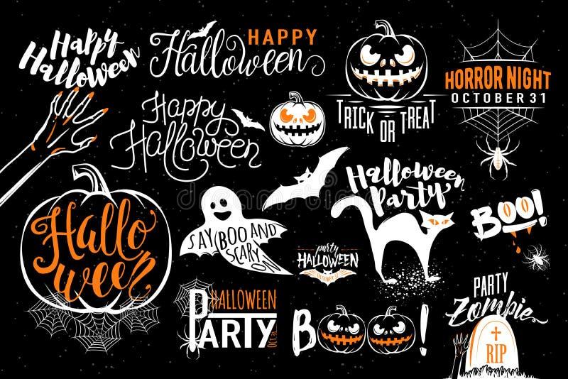 Modelli felici dell'etichetta dell'icona di celebrazione di Halloween illustrazione vettoriale