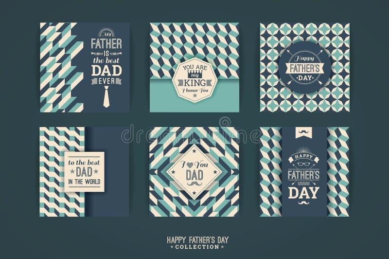 Modelli felici di giorno del padre s nel retro stile illustrazione di stock