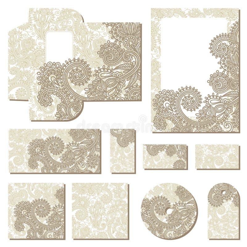 Modelli floreali decorati di stile di affari illustrazione di stock