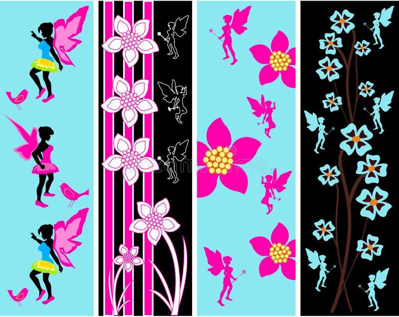 Modelli floreali leggiadramente della bandiera di Web illustrazione di stock
