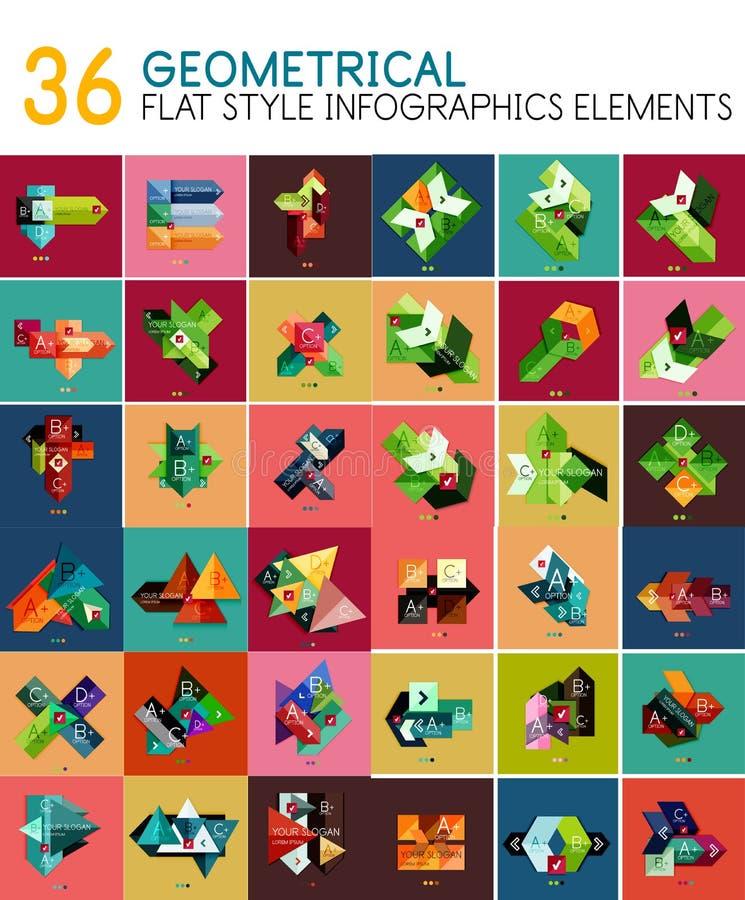 Modelli geometrici dell'insegna di stile piano geometrico di vettore illustrazione di stock