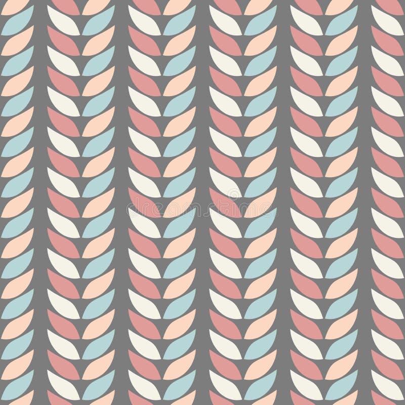 Modelli geometrici senza cuciture del fondo delle foglie nei colori pastelli su un fondo della grafite illustrazione di stock