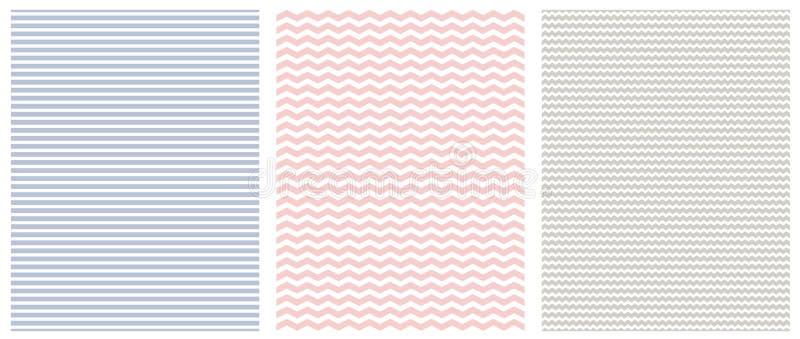 Modelli geometrici senza cuciture dell'estratto con White Stripes e Chevron su un rosa, su un blu e su Gray Background illustrazione vettoriale