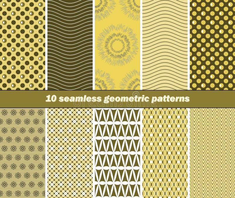 10 modelli geometrici senza cuciture nei colori di giallo e di verde verde oliva illustrazione vettoriale