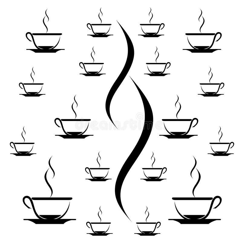 Modelli il caffè, fondo del modello della tazza di tè in bianco e nero royalty illustrazione gratis