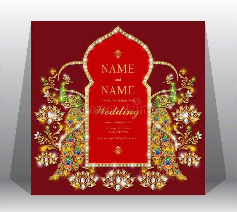 Modelli indiani della carta dell'invito di nozze fotografia stock libera da diritti