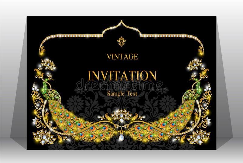 Modelli indiani della carta dell'invito di nozze immagini stock