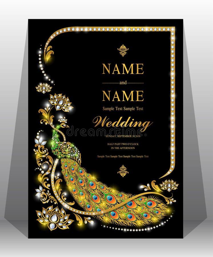Modelli indiani della carta dell'invito di nozze immagini stock libere da diritti