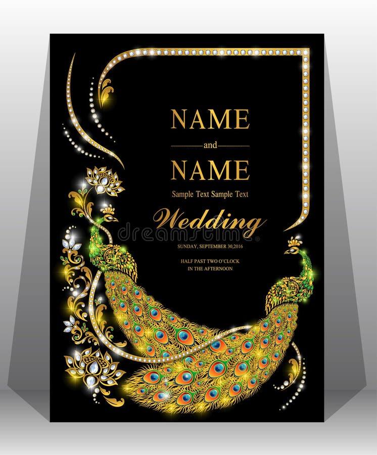 Modelli indiani della carta dell'invito di nozze fotografia stock