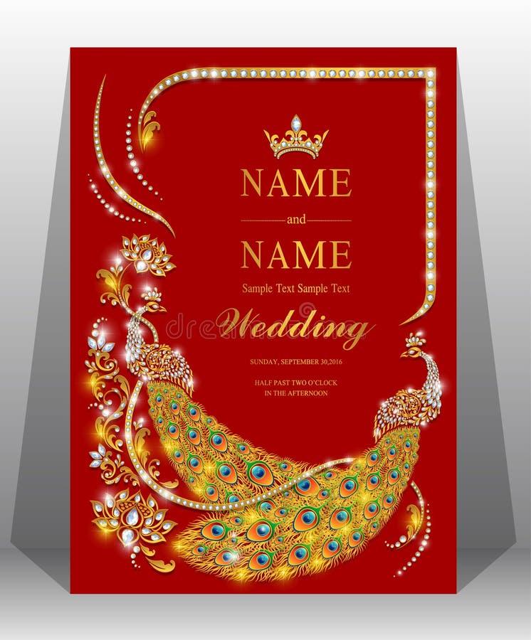 Modelli indiani della carta dell'invito di nozze immagine stock libera da diritti