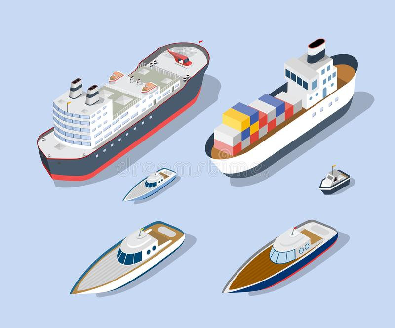 Modelli isometrici delle navi illustrazione vettoriale