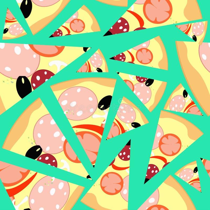 Modelli le fette di pizza senza cuciture su un fondo blu Vettore IL illustrazione di stock