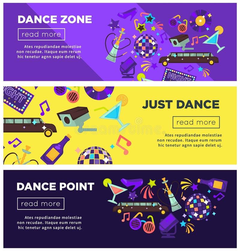 Modelli luminosi promozionali dei manifesti di Internet di zona di ballo messi illustrazione vettoriale