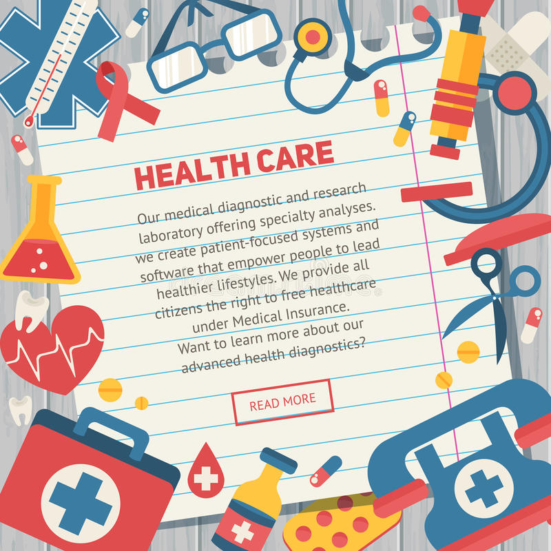 Modelli medici delle insegne nello stile piano d'avanguardia royalty illustrazione gratis