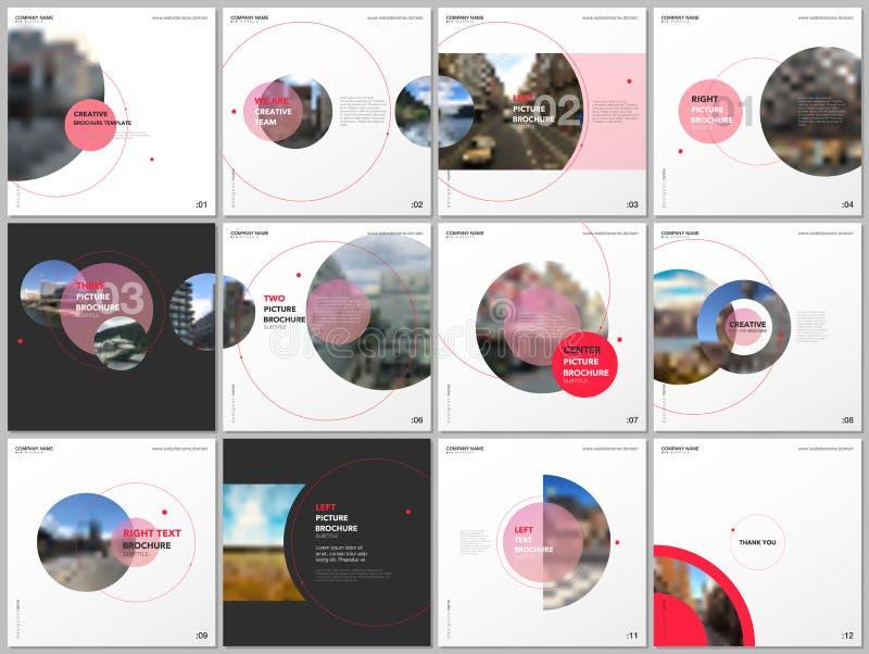 Modelli minimi dell'opuscolo con i cerchi di colore rosso, forme rotonde Le coperture progettano i modelli per l'aletta di filato illustrazione di stock