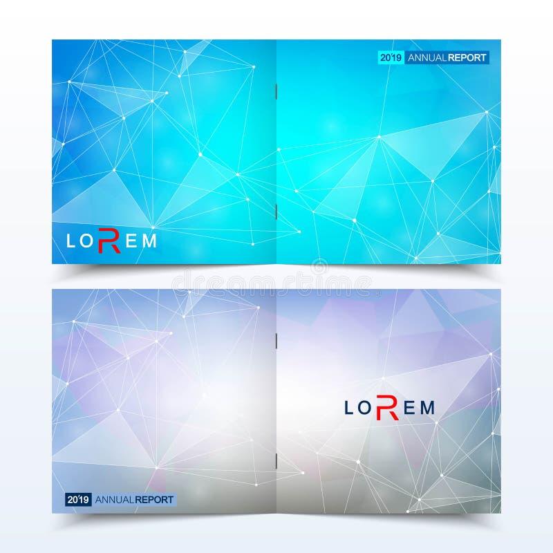 Modelli minimi moderni di progettazione della copertura della disposizione di vettore per l'opuscolo o l'aletta di filatoio quadr illustrazione vettoriale