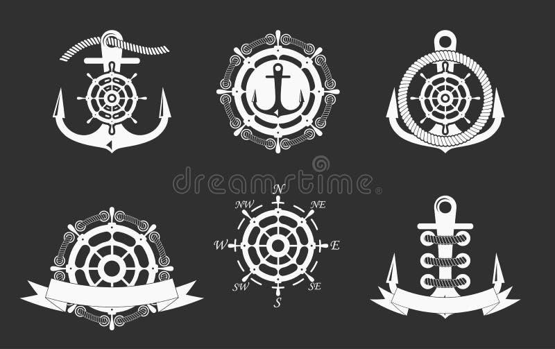 Modelli nautici del logos messi Vector l'oggetto e le icone per Marine Labels, i distintivi del mare, logos dell'ancora progettan illustrazione vettoriale